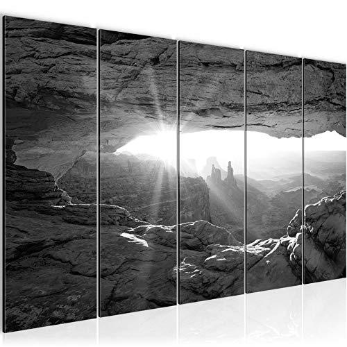 Runa Art Wandbild XXL Grand Canyon 200 x 80 cm Schwarz Weiss 5 Teilig - Made in Germany - 603755c