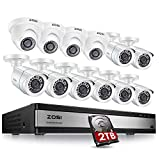 ZOSI 1080p 16 Channel Security Camera System, H.265+ 16 Channel DVR with Hard Drive 2TB and 12 x 2MP Weatherproof Surveillance CCTV Bullet Dome Camera Outdoor Indoor, 80ft Night Vision, 90° View Angle