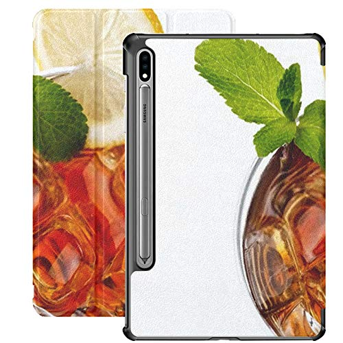 Funda Galaxy Tablet S7 Plus de 12,4 Pulgadas 2020 con Soporte para bolígrafo S, Vista Superior de Cristal de té Helado frío Funda Protectora con Soporte Delgado para Samsung