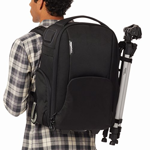 Amazon Basics Convertible Rolling Camera Backpack Bag - 15 x 22 x 10 Inches, Black