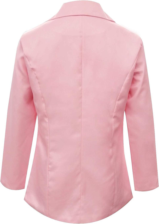 MINTLIMIT Damen Blazer Cardigan Dünn Geraffte Ärmel Elegant Bolero Business Jacke Blazer Slim Fit Anzug Trenchcoat Sakko Einfarbig Rosa#1851