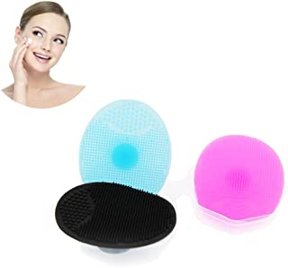 3 Facial Cleansing Brush - Manual Facial Cleansing Pads Silicone, Deeply Cleansing Natural Blackhead Removal Brush for Face Care For Women(3 colors)