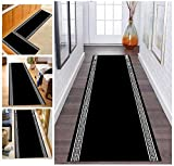 Negro Geometría Corredor de Alfombra Para Pasillos Antideslizante, Alfombra larga lavable de poliéster adecuada para pasillo, cocina, sala de estar, ancho 40cm/ 50cm/ 60cm/ 70cm/ 80cm/ 90cm/ 100cm