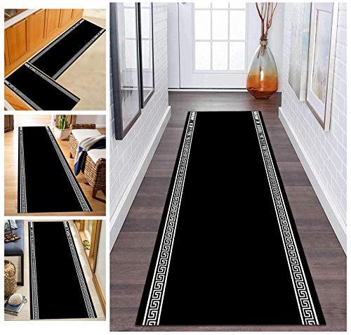 ZDYHMrj Moderne Tapis de Passage Couloir Cuisine Noir Antidérapant, Tapis Longue en Polyester Lavable pour Couloir, Salon, Largeur 60cm/ 70cm/ 80cm/ 90cm/ 100cm (Size : 60x300cm)