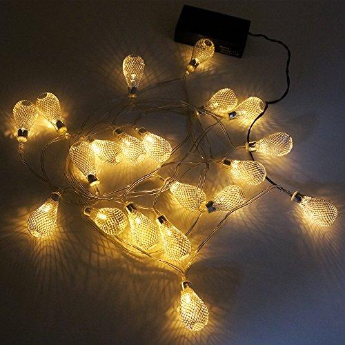 Guirnalda Cadena de Luces Tiras de LED para Arbol de Navidad Bodas Fiestas Decorativas Gotas de lluvia Longitud 3 Metros con Modos de Iluminacion Constante y Centelleo de Enuotek