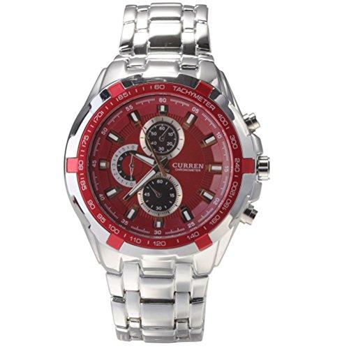CURREN 8023 moda uomo impermeabile quadrante rotondo cinturino in acciaio orologio da polso al quarzo con confezione (rosso)