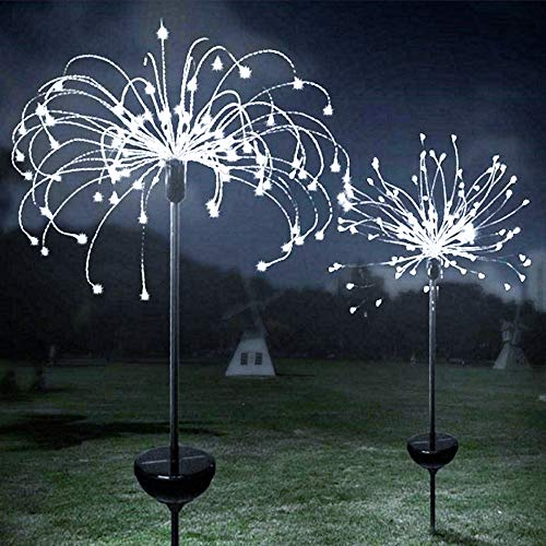 2 Pack LED Outdoor Light Fireworks Lamp Sparklers Led Copper Wire Lamp 8 Lighting Modes Wedding Garden Footpath Christmas Decorations Park Decoration(120LED-Cold White-Round)
