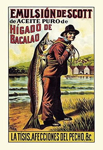 Late 1800s advertising for Cod liver oil and Bacalo dried salted cod The Spanish market was one of the largest for salted cod but this product was sold all over the United States as well Poster Print