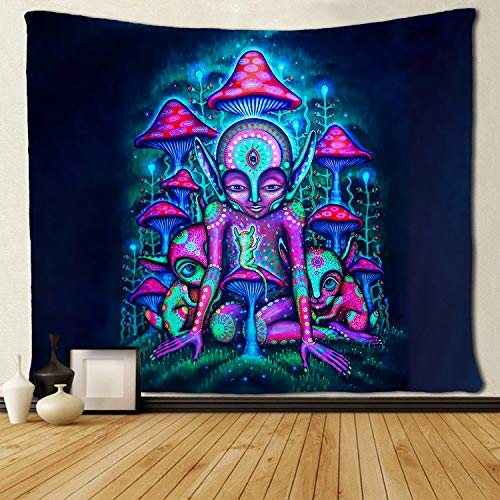 SARA NELL Magical Trippy Psychedelic Tapestry Alien and Mushroom Blue Pink Colorful Tapestries Wall Hanging Hippie Art 50x60 Inches Home Decoration Dorm Decor for Living Room Bedroom