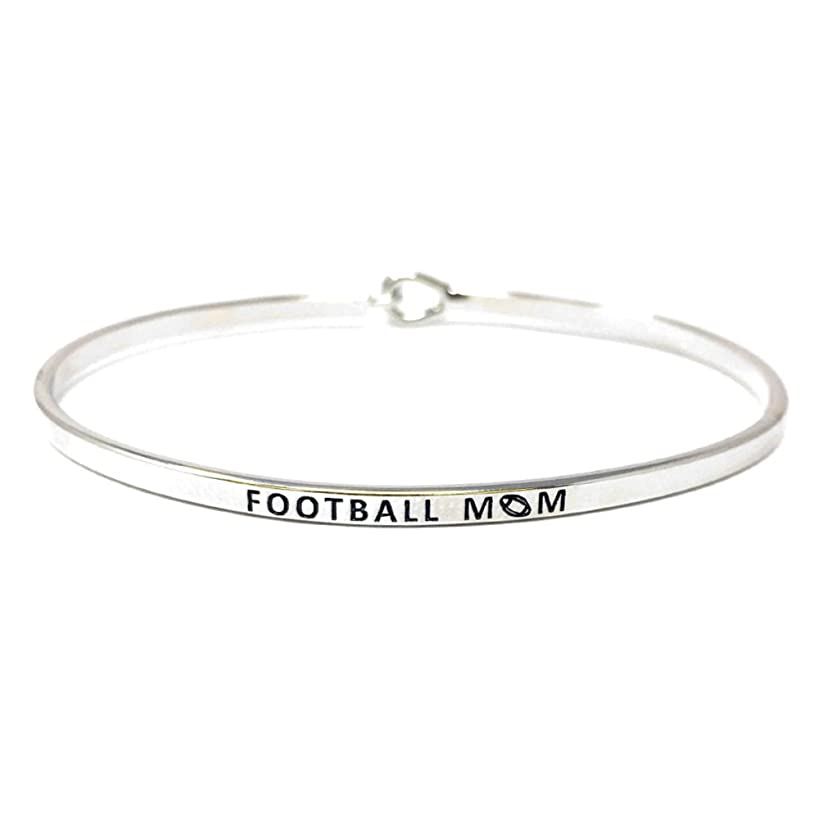 by you Mom Inspirational Messages Engraved Thin Bangle Hook Bracelets