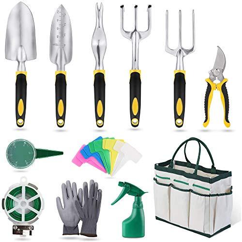 U Yoo - Juego de 12 herramientas de jardinería con bolsa de almacenamiento, regadera y guantes de jardinería, aluminio