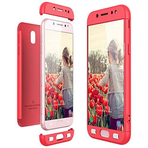 CE-Link Funda Samsung Galaxy J5 2017, Carcasa Fundas para Samsung Galaxy J5 2017, 3 en 1 Desmontable Ultra-Delgado Anti-Arañazos Case Protectora - Rojo/Red