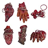 XONOR Halloween Fake Bloody Severed Hands Feet Broken Body Parts for Haunted House Halloween Zombie Party Decorations (6 Pcs)