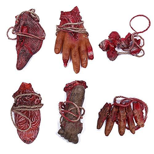 XONOR Halloween blutigen Requisiten gefälschte unheimlich abgetrennte Hand gebrochen Körperteile für Spukhaus Halloween Vampir Zombie Party Dekoration Lieferungen, 6 Stück