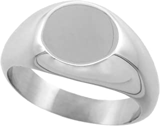 Stainless Steel Small Signet Ring for Women Solid Back Flawless Finish 3/8 inch Round, Sizes 5-9