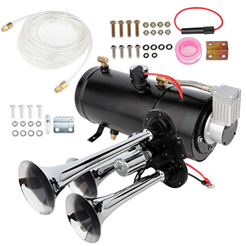 cciyu 150db 12V Air Horn 3 Trumpet Air Horn Kit with 150 PSI Air Compressor Air Tank Replacement for Train Car Truck Boat RV