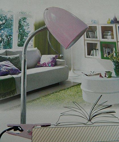 Lámpara de mesa malva noche a presión de alicate suave mesilla de noche de lectura