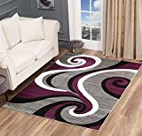 Glory Rugs Black Area Rug 5x7 Purple Gray Modern Carpet Bedroom Living Room Contemporary Dining Accent Sevilla Collection 4817A (Purple)