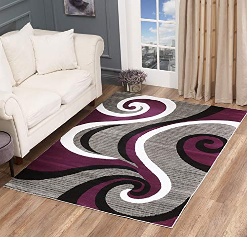 Glory Rugs Modern Area Rug Swirls Carpet Bedroom Living Room Contemporary Dining Accent Sevilla Collection 4817 (8x10, Purple)