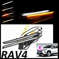POG トヨタ RAV4 50系 フロント LED デイライト/流れるウインカー シーケンシャル機能 フロントグリルランプ ホワイト/アンバー TN-3450