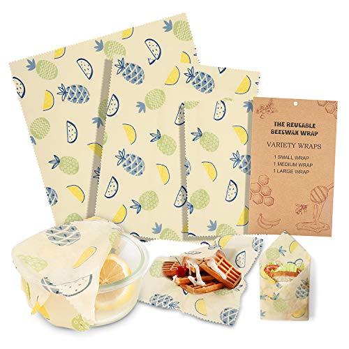 Paquet de 3 emballages alimentaires en cire d'abeille, Emballages alimentaires réutilisables écologiques, magasin de nourriture durable en plastique durable pour fromage, fruits, légumes et pain