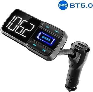 HLOMOM Bluetooth 5.0 Car FM Transmitter, Hands-Free Car Kit, Bass Booster FM Radio Adapter, Dual USB Charging Ports (5V/2.4A & 5V/1A), Support TF Card/AUX/Bluetooth 4.2