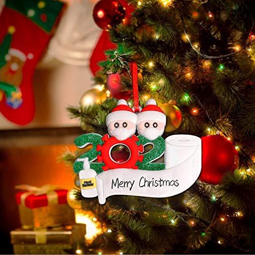 2020 Weihnachtsschmuck-Kit, Personalisierte Überlebende Weihnachtsschmuck-Kit, DIY-Baumschmuck Weihnachten Kreativer Namenssegen (Familie von 2)