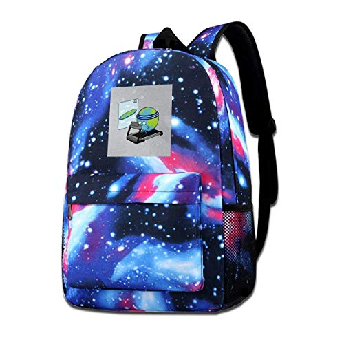 Galaxy Backpack Printed Shoulders Bag Round Earth Training to Be Flat Fashion Casual Star Sky Backpack for Boys&Girls