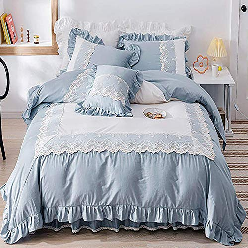 FTFTO Household Products Bed Cover Four Piece Princess Bed Skirt Four Piece Pure Cotton Lace Sheets Quilt Cover Pillowcase Pure Color Beautiful Bedding Green 6.5ft