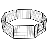 Yaheetech 8-TLG Freigehege Laufstall für Kleintiere 80 x 60cm Laufgitter draußen und Innen Welpenauslauf mit Tür