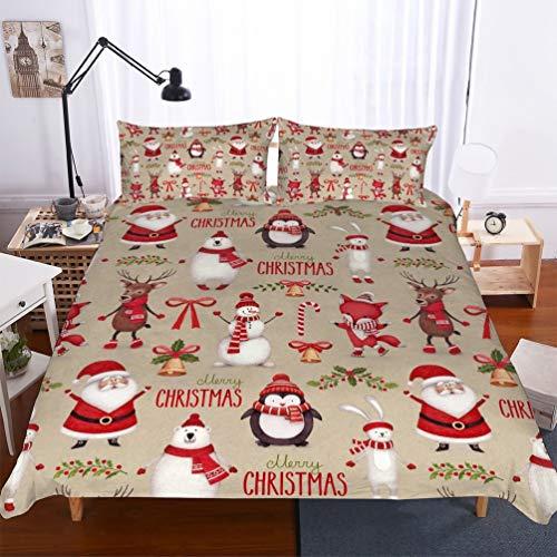 SK-YBB Bettwäsche Weihnachten Bettbezüge Set Xmas Schneeflocke Bett Sets 3Teilig Bettbezüge/Kissenbezüge/Bettlaken Für Kinder,Jungen,Mädchen (B3,King 220x240cm)