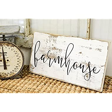 Rustic Home Wood Sign - Distressed Whitewash Farmhouse Wall Decor
