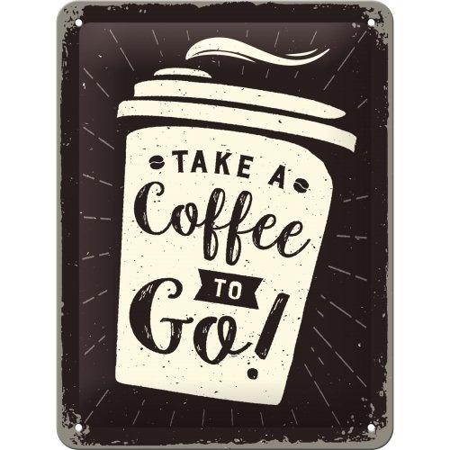 Nostalgic-Art 26228 Coffee To Go | Retro Vintage-Schild | Wand-Dekoration | Metall Blechschild 15x20 cm, Bunt, 15 x 20 x 0.2 cm