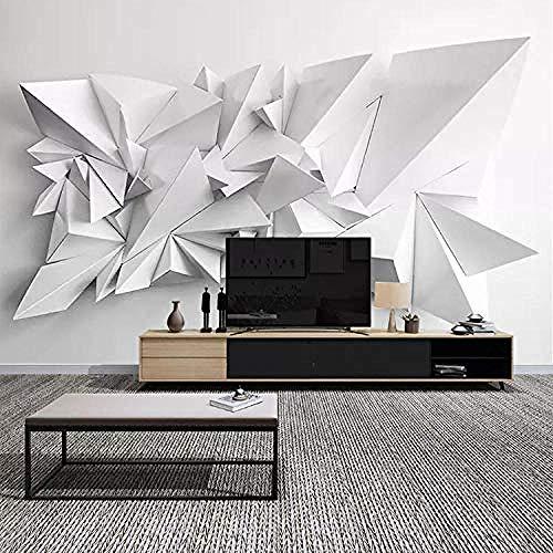 Sala de estar Mural Visual Blanco y negro Origami Restaurante Fondo Paño de pared Sala de estar Pape Pared Pintado Papel tapiz 3D Decoración dormitorio Fotomural sala sofá pared mural-400cm×280cm