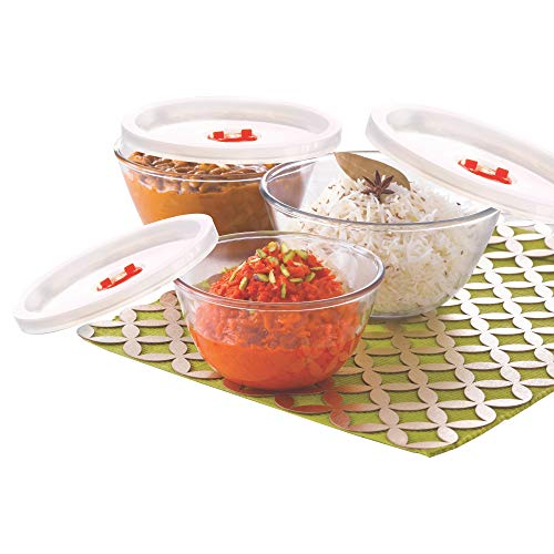 Borosil Glass Serving & Mixing Bowls with Lids, Oven & Microwave Safe Bowls, Set of 3 (500 ml + 900 ml + 1.3 L), Borosilicate...