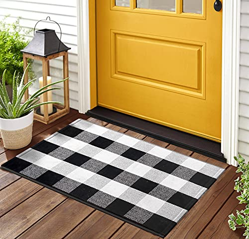 Black and White Buffalo Plaid Rug - 24x36 + Upgraded Anti-Slip Mat, Outdoor/Indoor Front Porch Check Doormat, Welcome Small Carpet Cotton Checkered Door Mat, Kitchen Farmhouse Entryway Washable Décor