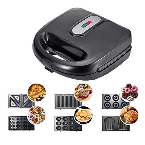 Waffeleisen,Sandwich-Toaster,6 in 1,abnehmbare Teller,elektrische Multifunktions-Backform,Sandwich,Panini,Donuts,Madeleine,Nusskuchen,Küchengeschenk