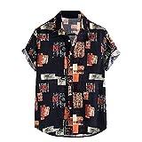 ZAIZAI Camisa vintage para hombre de verano de manga corta, casual, playa, playa, playa, solapa holgada, tops hawaianos para vacaciones (color negro, tamaño: 3XL Código)