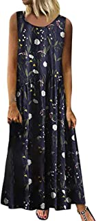 Todaies Women Plus Size Bohemian O-Neck Floral Print Vintage Sleeveless Long Maxi Dress