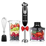 AICOK Hand Immersion Blender Handheld Electric 4-in-1 12 Speed Stick Blender with Egg Whisk, 20Oz Food Chopper Grinder Bowl, 800ml Mixing Beaker for Smoothies, Puree Infant Food, Sauce, Soups BPA-Free