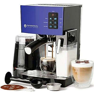 Espresso Machine, Latte & Cappuccino Maker- 19 Bar Pump, 10 pc All-In-One Espresso Maker with Milk Steamer (Incl: Coffee Bean Grinder, 2 Cappuccino & 2 Espresso Cups, Tamper, Portafilter w/ Single & Double Shot Filter Baskets), 1250W, (Blue)
