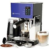Espresso Machine, Latte & Cappuccino Maker-19 Bar Pump, 10 pc All-In-One Espresso Maker with Milk Steamer (Incl: Coffee Bean Grinder, 2 Cappuccino & 2 Espresso Cups, Tamper, Portafilter with Single & Double Shot Filter Baskets), 1250W, (Blue)