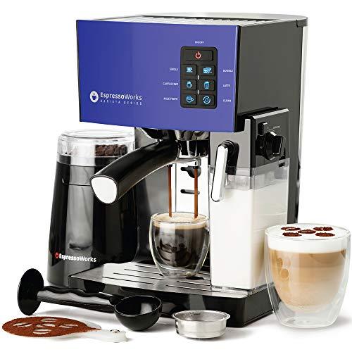 Espresso Machine Latte amp Cappuccino Maker19 Bar Pump 10 pc AllInOne Espresso Maker with Milk Steamer Incl: Coffee Bean Grinder 2 Cappuccino amp 2 Espresso Cups Tamper Portafilter w/ Single amp Double Shot Filter Baskets 1250W Blue