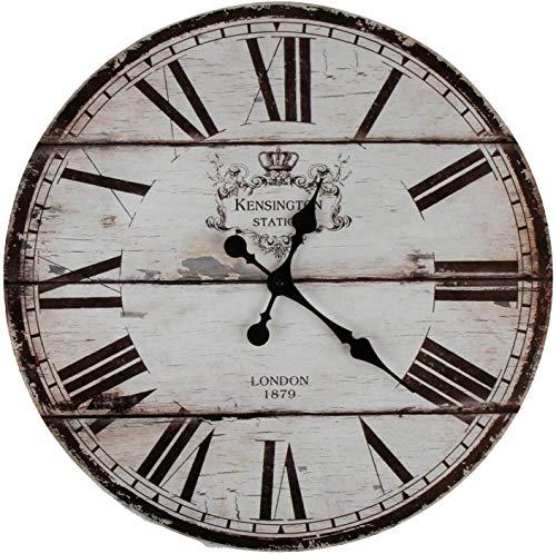 YOAI Wanduhr Uhr Shabby Vintage Motivuhr Küchenuhr Nostalgie Rustikale Quarzuhr aus MDF mit lautlosem Uhrwerk,12 Zoll/30CM Ø (London)
