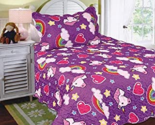Sapphire Home 2pc Twin Size Bedspread Quilt Set Bedding for Kids Teens, Unicorn Pony Hearts Rainbow Multicolor Purple Pink Coverlet, Twin Bedspread + Sham, Twin 12 Unicorn Purple
