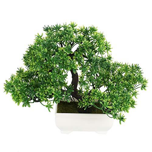 HUAESIN Kunstpflanzen Bonsai 3 Gabeln Plastikpflanzen Kiefern Topfpflanzen Grün Künstliche Pflanzen Bonsai-Baum für Tischdeko Draußen Drinnen Balkon Zimmer Büro Küche Deko