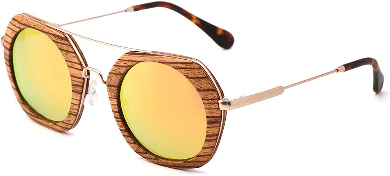 SFNJL Round Sunglasses Women Polarized Wood Sun Glasses Metal Uv400