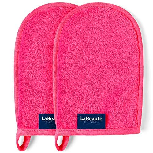 LaBeauté Abschminkhandschuh (2 Stück), Mikrofaser, waschbar und wiederverwendbar, Make-Up Entferner Handschuh, zur Gesichtsreinigung (20x13 cm, Pink)