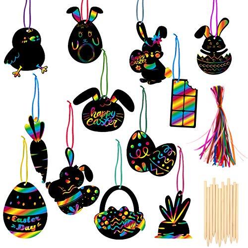 HOWAF 36pcs Scratch Art Bambini Pasqua | Pasqua Fogli di Disegni Scratch Art + Corde Colorate, Creazioni Pasquali per Bambini da Decorare Coniglio Uovo di Pasqua Scratch Carta Fai da Te
