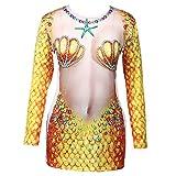 Tomaibaby Meerjungfrau Kostüm Muschel BH Langarm T-Shirt für Halloween Kostüm Performance Requisiten Meerjungfrau Party Zubehör